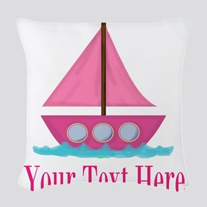 Pink Sailboat Personalizable Woven Throw Pillow