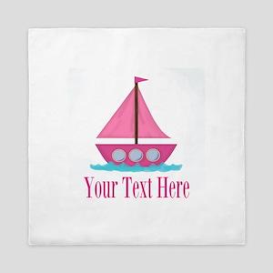 Pink Sailboat Personalizable Queen Duvet