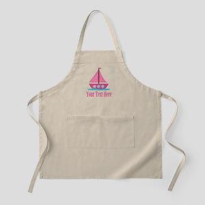 Pink Sailboat Personalizable Apron