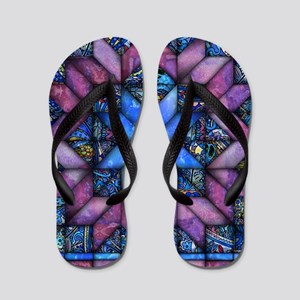 Purple Quilt Flip Flops
