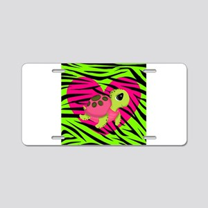 Sea Turtle Pink Green Zebra Aluminum License Plate