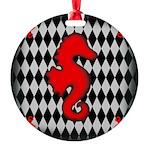 Red Black Seahorse Nautical Ornament