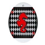 Red Black Seahorse Nautical Ornament (Oval)