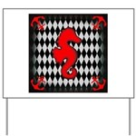 Red Black Seahorse Nautical Yard Sign