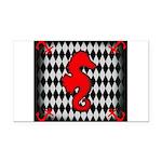 Red Black Seahorse Nautical Rectangle Car Magnet