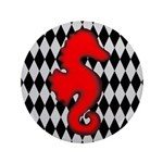 Red Black Seahorse Nautical Button