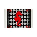 Red Black Seahorse Nautical Magnets