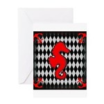 Red Black Seahorse Nautical Greeting Cards