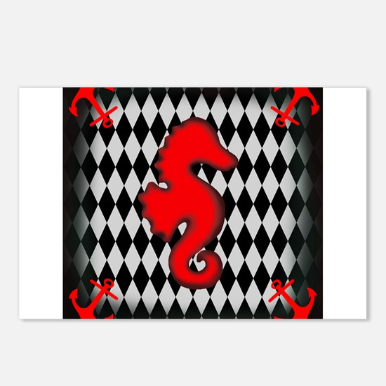 Red Black Seahorse Nautical Postcards (Package of