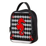 Red Black Seahorse Nautical Neoprene Lunch Bag