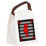 Red Black Seahorse Nautical Canvas Lunch Bag