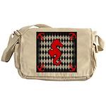 Red Black Seahorse Nautical Messenger Bag