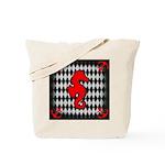 Red Black Seahorse Nautical Tote Bag