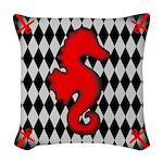Red Black Seahorse Nautical Woven Throw Pillow