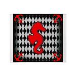 Red Black Seahorse Nautical Throw Blanket