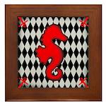Red Black Seahorse Nautical Framed Tile