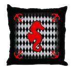 Red Black Seahorse Nautical Throw Pillow