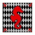 Red Black Seahorse Nautical Tile Coaster