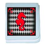 Red Black Seahorse Nautical baby blanket