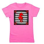Red Black Seahorse Nautical Girl's Tee