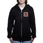 Red Black Seahorse Nautical Women's Zip Hoodie