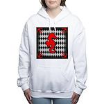 Red Black Seahorse Nautical Women's Hooded Sweatsh
