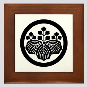 Paulownia with 5&3 blooms in circle Framed Tile