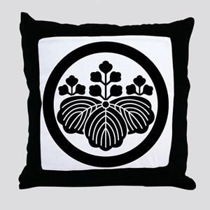 Paulownia with 5&3 blooms in circle Throw Pillow
