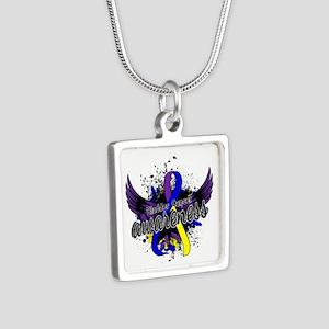 Bladder Cancer Awareness 1 Silver Square Necklace