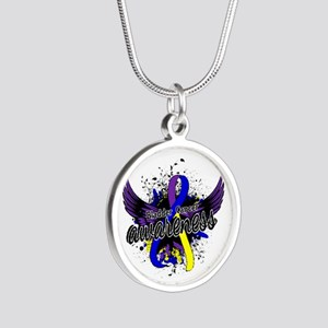 Bladder Cancer Awareness 16 Silver Round Necklace