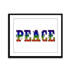 Ornate Peace Letters Framed Panel Print