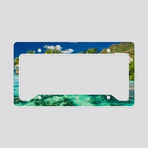 Tropical Water And Bungalow License Plate Holder