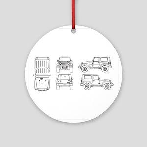 Jeep JK Wrangler Multi View Ornament (Round)