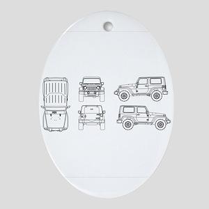 Jeep JK Wrangler Multi View Ornament (Oval)