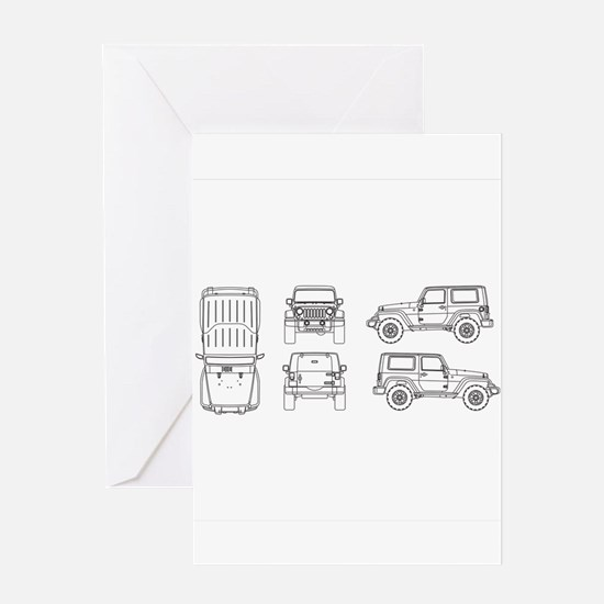 Jeep JK Wrangler Multi View Greeting Cards
