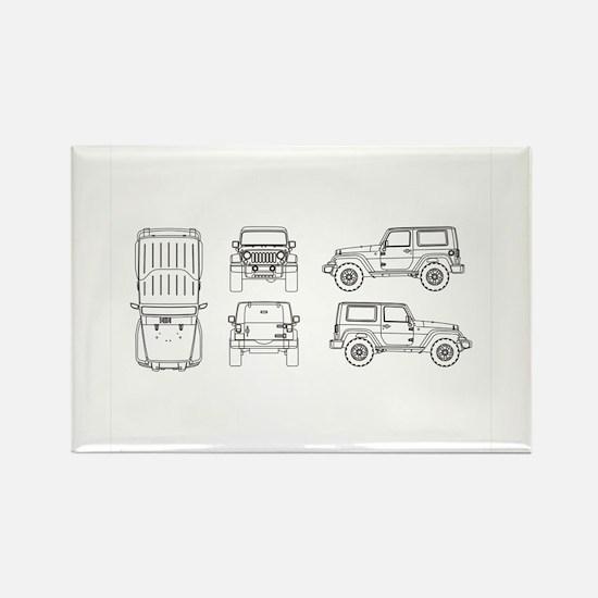 Jeep JK Wrangler Multi View Magnets