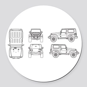 Jeep JK Wrangler Multi View Round Car Magnet
