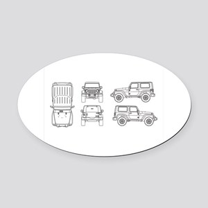 Jeep JK Wrangler Multi View Oval Car Magnet