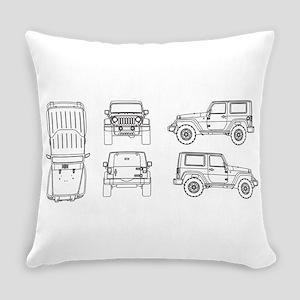 Jeep JK Wrangler Multi View Everyday Pillow