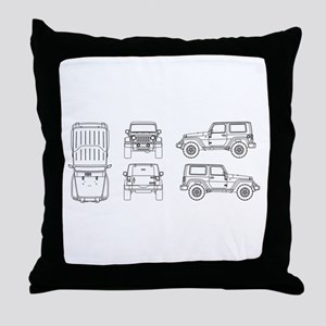 Jeep JK Wrangler Multi View Throw Pillow