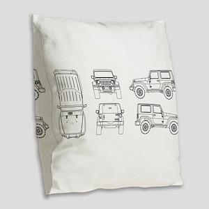 Jeep JK Wrangler Multi View Burlap Throw Pillow