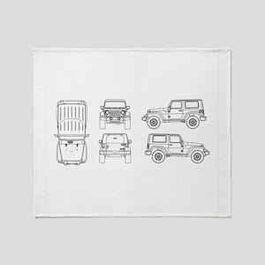 Jeep JK Wrangler Multi View Throw Blanket
