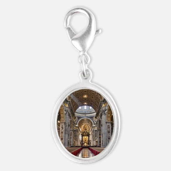 St. Peter's Basilica Silver Oval Charm