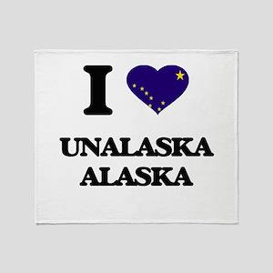 I love Unalaska Alaska Throw Blanket