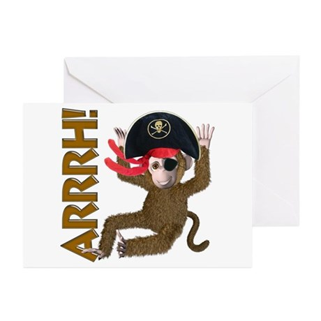 Pirate Monkey Greeting Cards (Pk of 10)