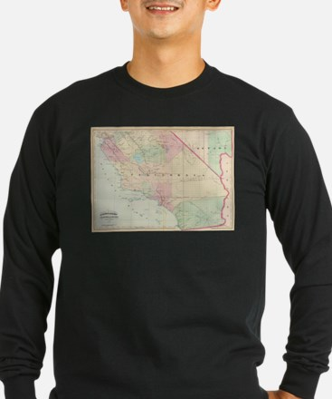 Vintage Map of Southern Califo Long Sleeve T-Shirt