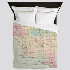 Vintage Map of Southern California (18 Queen Duvet
