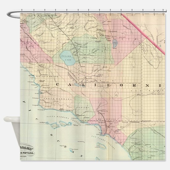 Vintage Map of Southern California Shower Curtain