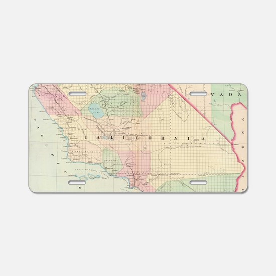 Vintage Map of Southern Cal Aluminum License Plate