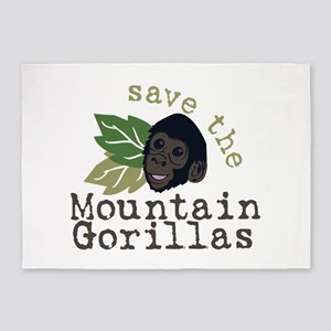 Save The Mountain Gorillas 5'x7'Area Rug